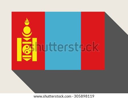 Mongolia in flat web design style. - stock photo