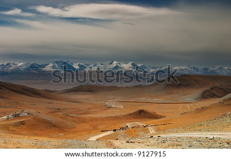 Mongolian nomads driving cattle, Western Mongolia - stock photo