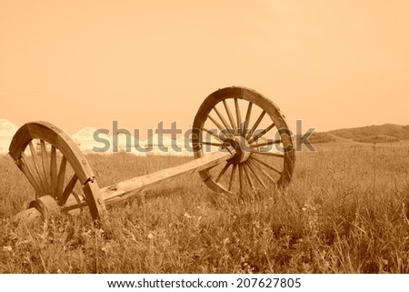 mongolian yurt and abandoned wheel, closeup of photo