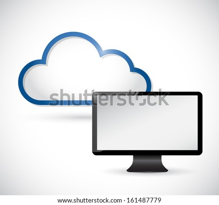 monitor and border storage cloud. illustration design over white