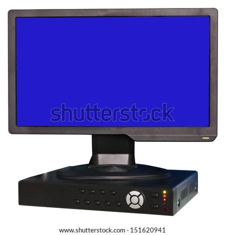 Monitor and control box black cctv camera on white background - stock photo