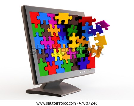 Monitor and falling puzzle on white background. - stock photo