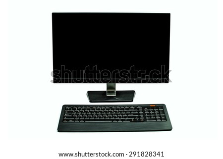 monitor and keyboard on a white background - stock photo