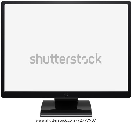 Monitor computer device flat lcd colored black with blank white screen. This is a detailed render 3d (Hi-Res). Isolated on white background - stock photo