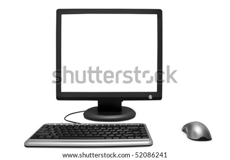 monitor mouse a keyboard is isolated on a white background
