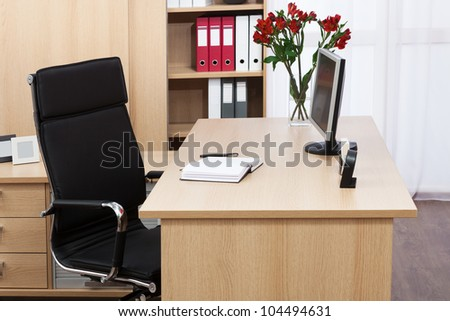 monitor on a desk - stock photo