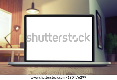 Monitor on floor - stock photo
