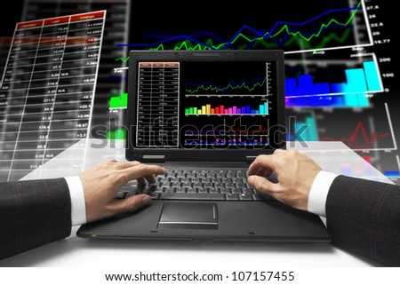 monitor on stock chart with chart background - stock photo
