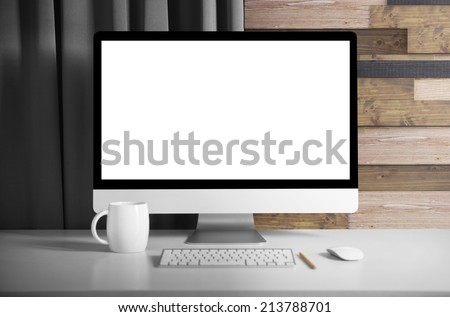 Monitor on table - stock photo