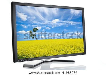 monitor on white background - stock photo