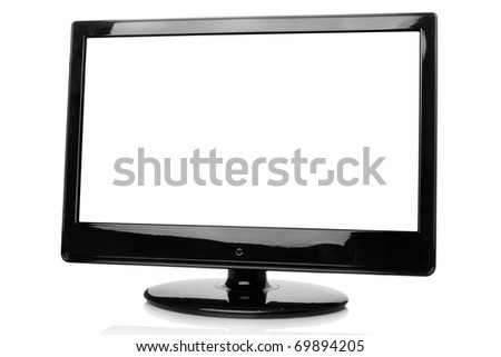 Monitor picture frame with centre isolated. Isolated on white background. Copy space - stock photo
