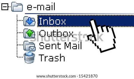 Monitor screen showing selected email inbox folder. E-mail communication concept