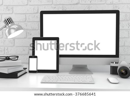 Monitor, tablet, phone on table in office. Workspace mockup.  modern workspace. Light workspace. Device in workspace. White workspace. Screen in workspace. Designer workspace. Office workspace. - stock photo