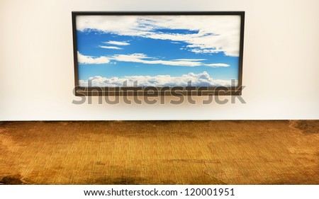 Monitor tv with an image of heaven on the screen - stock photo