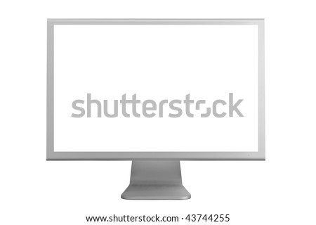 Monitor with a white screen isolated on a white background - stock photo