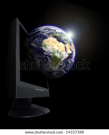 Monitor with an earth globe growing from it. This is a photoshop edited image. Some components of this montage are provided courtesy of NASA, and have been found at http://visibleearth.nasa.gov/ - stock photo