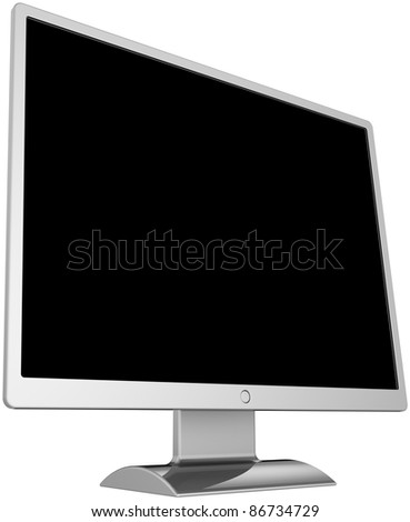 Monitor with blank black screen computer flat device generic colored silver metallic. Classic communication device equipment. Modern classic lcd tv. Detailed render 3d. Isolated on white background - stock photo