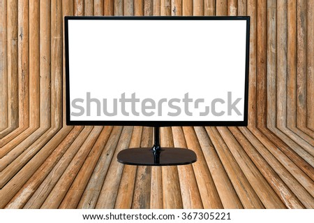 monitor with blank screen on wood planks texture background for advertise