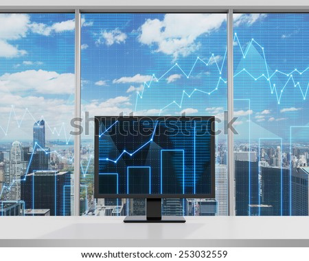 monitor with forex chart standing in office - stock photo