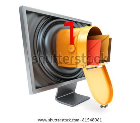 monitor with letters - stock photo