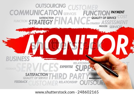 MONITOR word cloud, business concept - stock photo