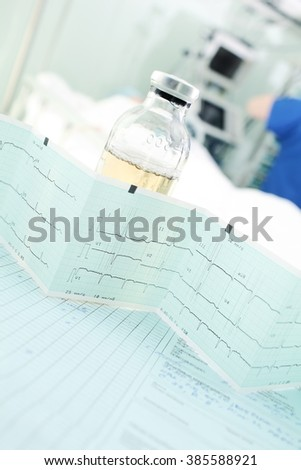 Monitoring of critically ill patient in the hospital ICU. - stock photo