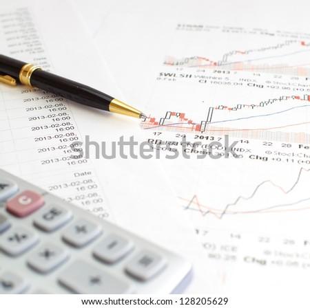Monitoring of stock market graphs. - stock photo
