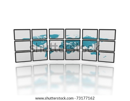 Monitors showing the world - stock photo