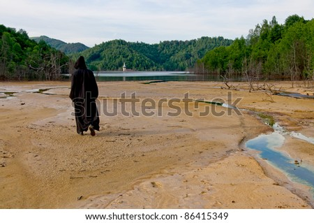 monk and isolated scenery, landscape