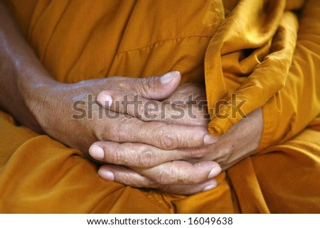 monk hands taken in a temple in Asia