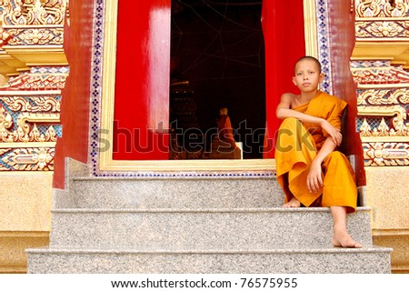 monk in church - stock photo