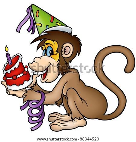 Monkey Birthday Cake Cartoon Illustration Stock Illustration ...