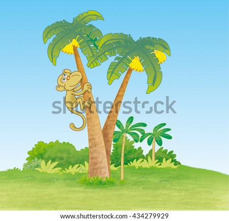 Monkey climbing palm tree in jungle - illustration