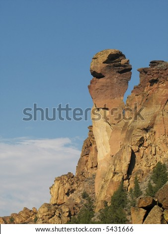 monkey face rock formation at Smith Rock state park, Oregon - stock photo