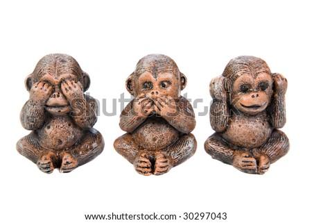 monkey figure on white background - stock photo