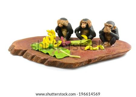 Monkey figures meaning - do not hear, do not speak, do not see - stock photo