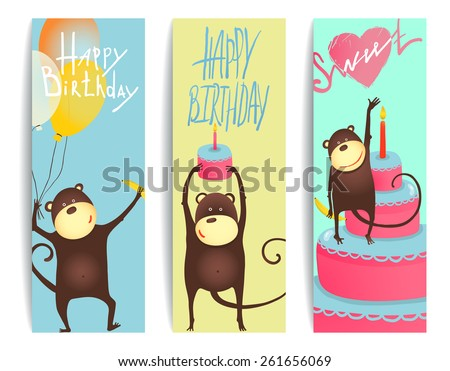 Monkey Fun Cards with Birthday Lettering. Congratulating cheerful monkey flyers. Raster variant. - stock photo