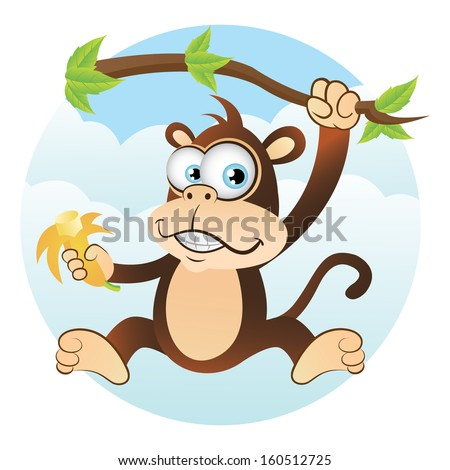 Monkey Hanging on Tree isolated - stock photo