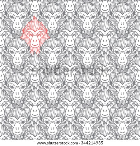 Monkey heads seamless pattern. Chinese zodiac symbol. Repeating monkey head with fire looking hair. New Year of the fire or red monkey 2016 background. - stock photo