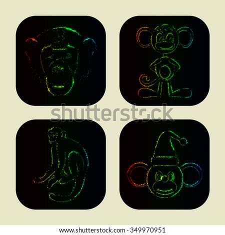 Monkey icons of gradient lights on dark background
