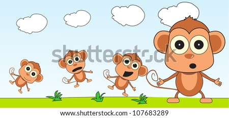 monkey jumping up and down - stock photo