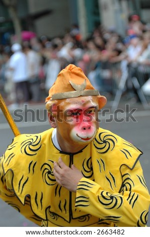 monkey king in Chinese New Year street parade - stock photo