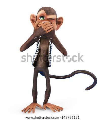 monkey not allowed to talk - stock photo