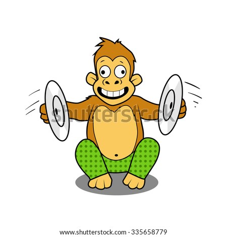 monkey playing cymbals cartoon comic book style raster illustration