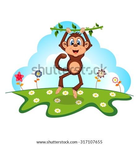 Monkey swinging on vines cartoon in a garden - stock photo