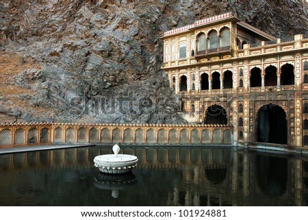 Monkey temple Galwar Bagh in Jaipur, India - stock photo