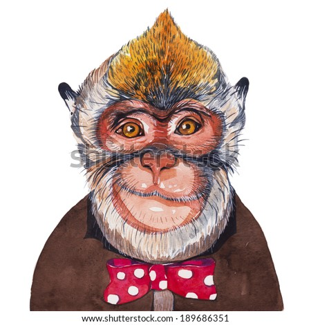 Monkey, Watercolor painting - stock photo