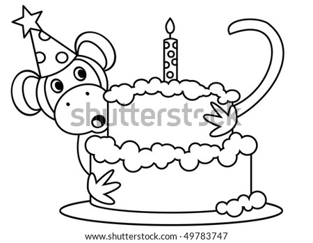 MONKEY WITH A BIRTHDAY CAKE - stock photo