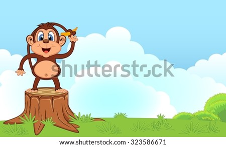 Monkey with banana cartoon in a garden for your design - stock photo