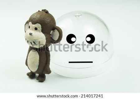 Monkeys doll on white background